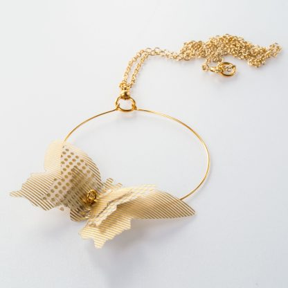 triple butterfly hoop necklace