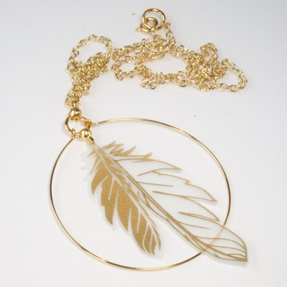 gold feather hoop necklace