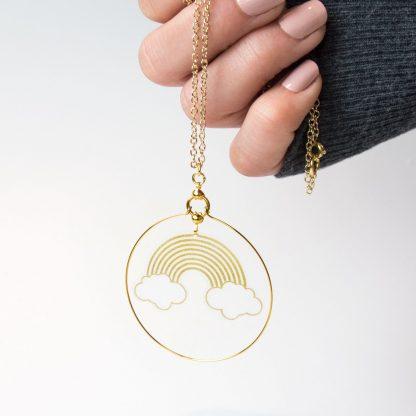gold rainbow hoop necklace