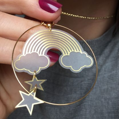 gold rainbow and stars hoop necklace