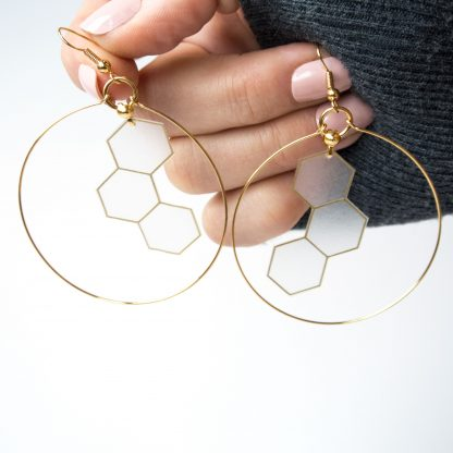 gold hoop hexagon earrings