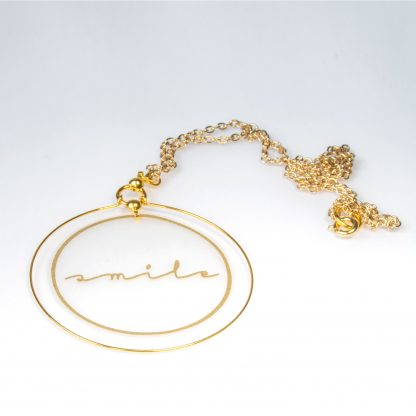 smile gold hoop pendant necklace