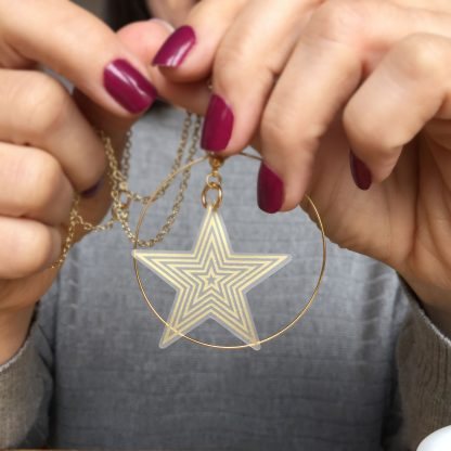 Gold Star Hoop pendant necklace for women