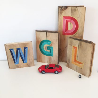 family gift wooden initials