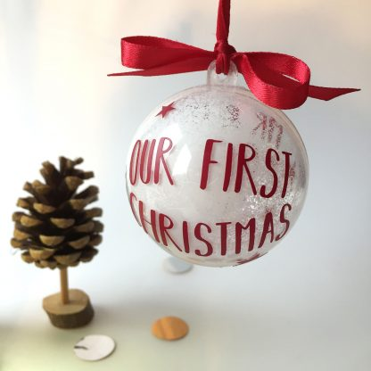 Personalised Newly Wed Christmas Bauble