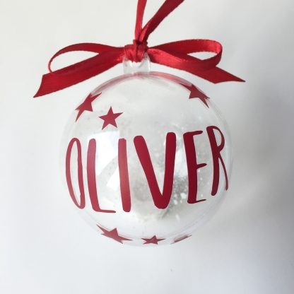 burgundy personalised christmas bauble