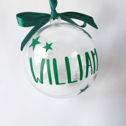 green personalised christmas bauble