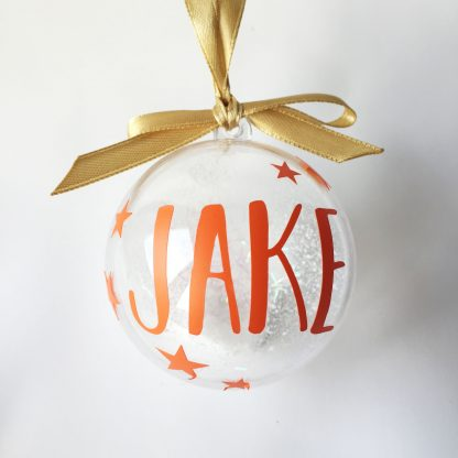 orange personalised christmas bauble