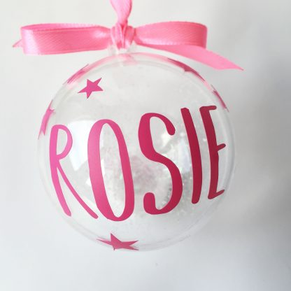 pink personalised christmas bauble