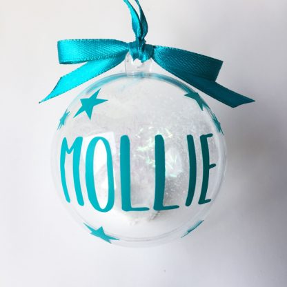 turquoise personalised christmas bauble