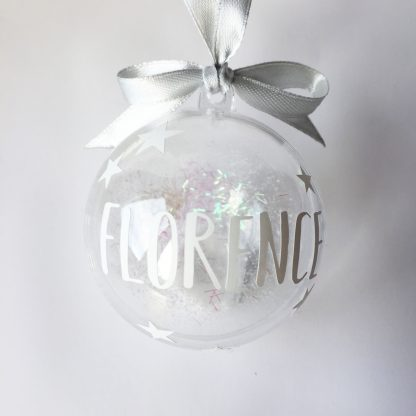 white personalised christmas bauble