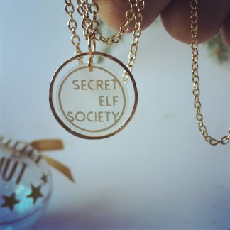 Secret Elf Society Gold Hoop Pendant Necklace