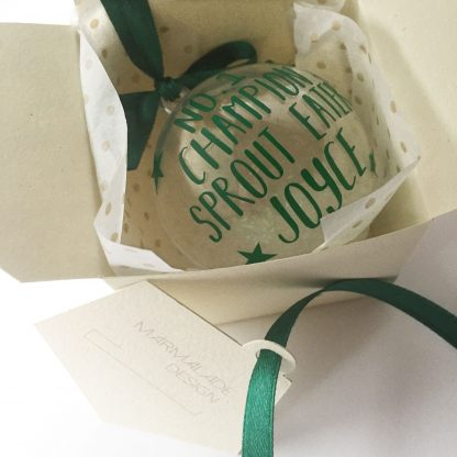 sprout lover personalised christmas bauble
