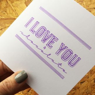 Marmalade Design I love you v and chocolate valentines, wedding, birthday cards