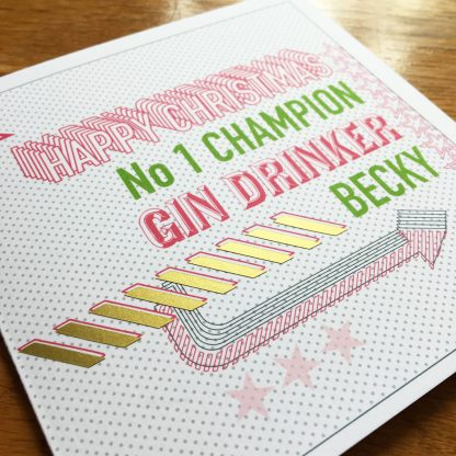 Personalised Christmas Gin Drinker Card